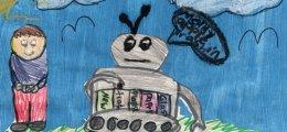 Niños dibujan cómo imaginan que será el futuroo